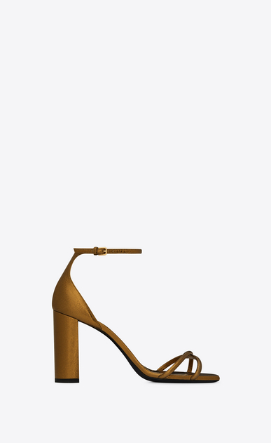 SAINT LAURENT Loulou Woman Loulou 95 sandal in gold-bronze leather a_V4