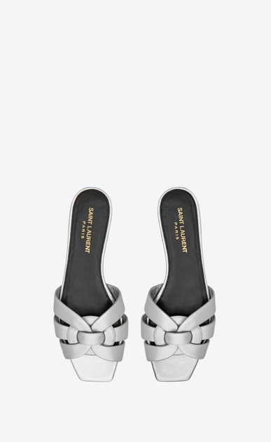 SAINT LAURENT Nu pieds Woman tribute flat sandal in metallic leather b_V4