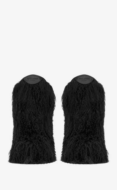 SAINT LAURENT Flat Boots Woman Furry boot in black curly fur and leather b_V4