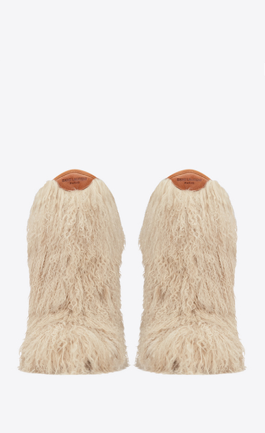 SAINT LAURENT Flat Boots Woman Furry boot in beige curly fur and cognac leather b_V4