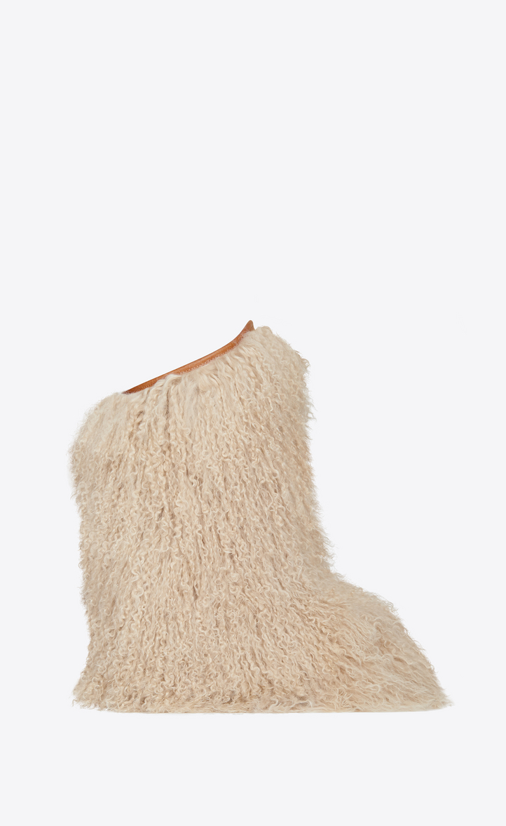 Furry Boot In Curly Fur And Leather, Beige