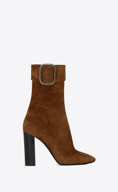 SAINT LAURENT Heel Booties Woman Joplin 105 ankle boot in caramel suede a_V4