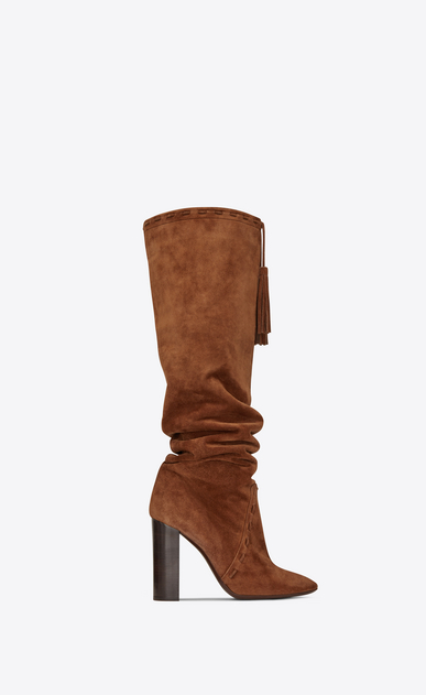 SAINT LAURENT Heeled Boots Woman Meurice 105 tasseled boot in caramel suede a_V4