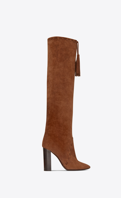 SAINT LAURENT Heeled Boots Woman Meurice 105 tasseled boot in caramel suede b_V4