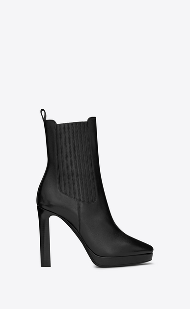 SAINT LAURENT Heel Booties Woman Hall 105 Chelsea ankle boot in black leather a_V4
