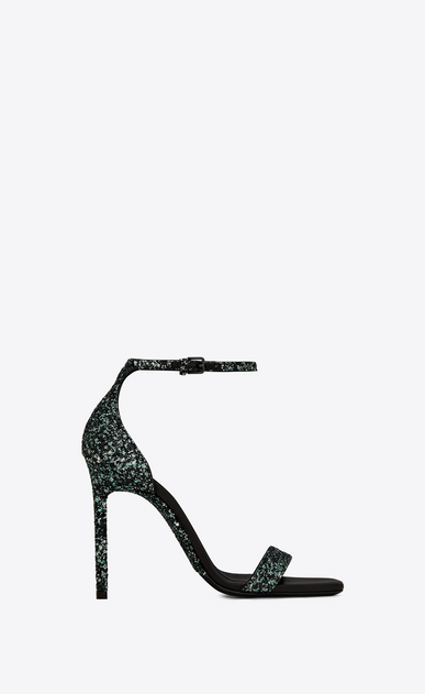 SAINT LAURENT Amber Woman Amber 105 sandal in green glitter a_V4