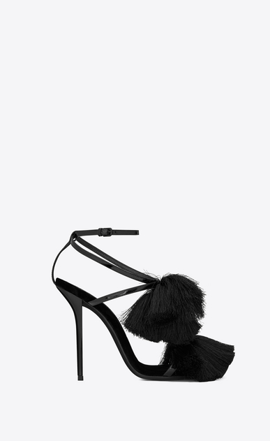 SAINT LAURENT Sandals Woman Pierre 110 black patent leather sandal with tassels a_V4