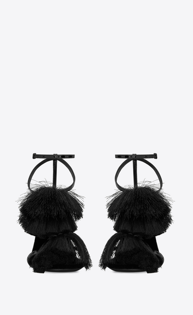 SAINT LAURENT Sandals Woman Pierre 110 black patent leather sandal with tassels b_V4
