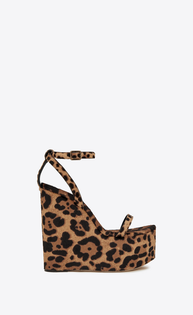 SAINT LAURENT Sandals Woman Frida 85 compensated sandal in cheetah-look calfskin a_V4