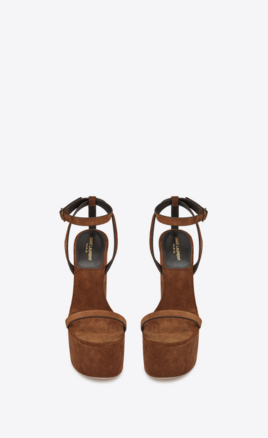 SAINT LAURENT Sandals Woman Frida 85 compensated sandal in caramel suede b_V4