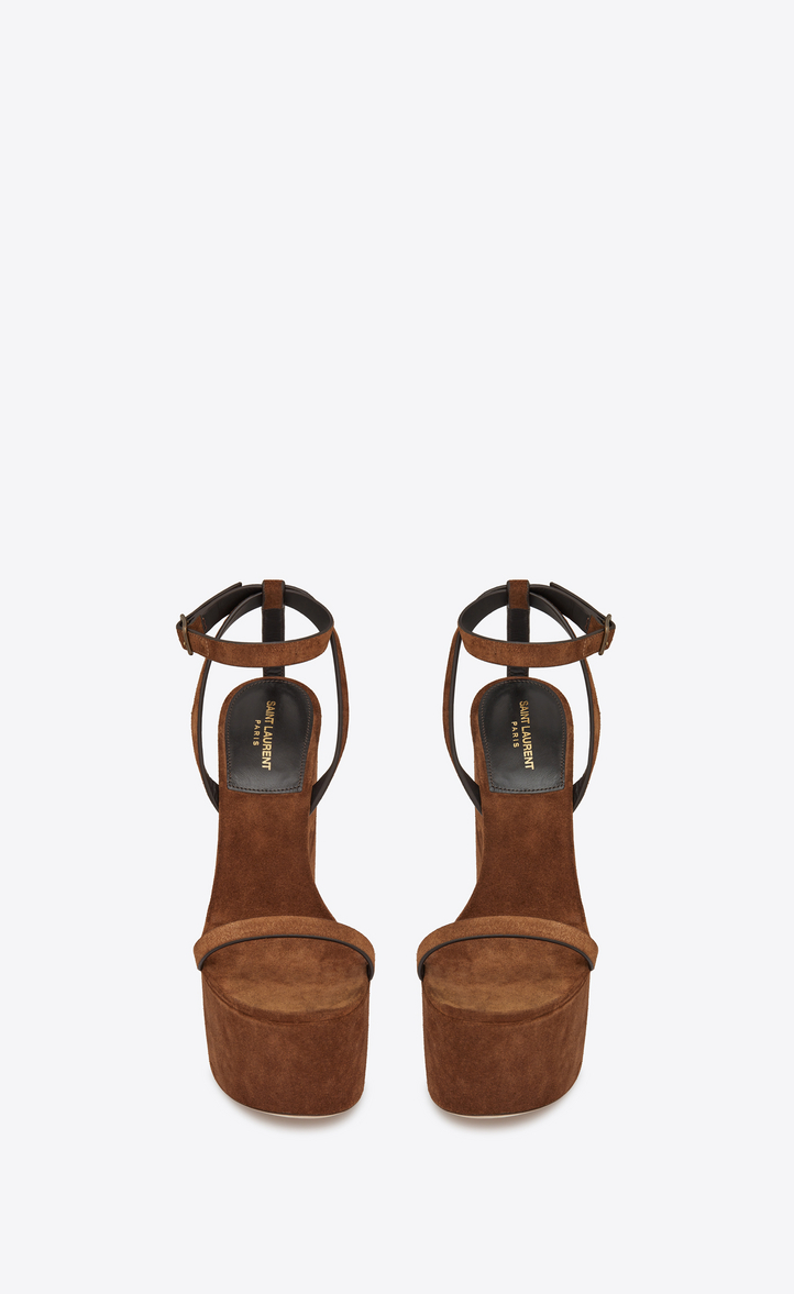 Saint Laurent Frida Wedge Sandal In Suede  0b6ec0225e24