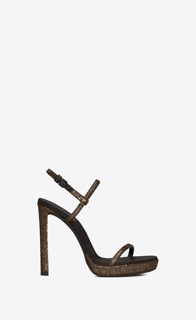 SAINT LAURENT Sandals Woman Hall 105 sandal in gold glitter a_V4