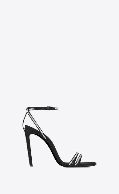 SAINT LAURENT Sandals Woman Robin 105 sandal in black satin and white crystals a_V4