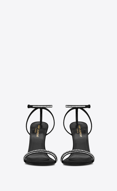 SAINT LAURENT Sandals Woman Robin 105 sandal in black satin and white crystals b_V4