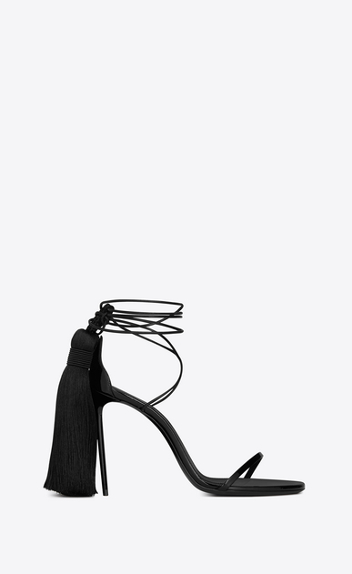 SAINT LAURENT Sandals Woman Robin 105 black patent leather sandal with tassels a_V4