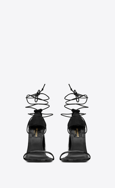 SAINT LAURENT Sandals Woman Robin 105 black patent leather sandal with tassels b_V4