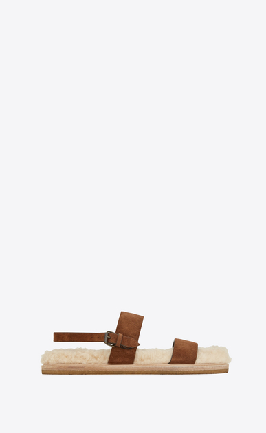 SAINT LAURENT Nu pieds Woman Noé sandal in caramel suede and beige shearling a_V4