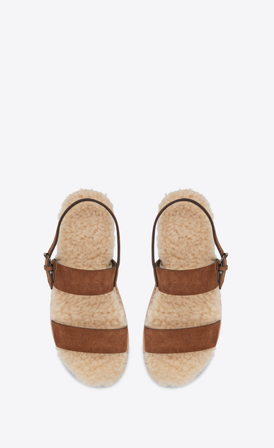 SAINT LAURENT Nu pieds Woman Noé sandal in caramel suede and beige shearling b_V4