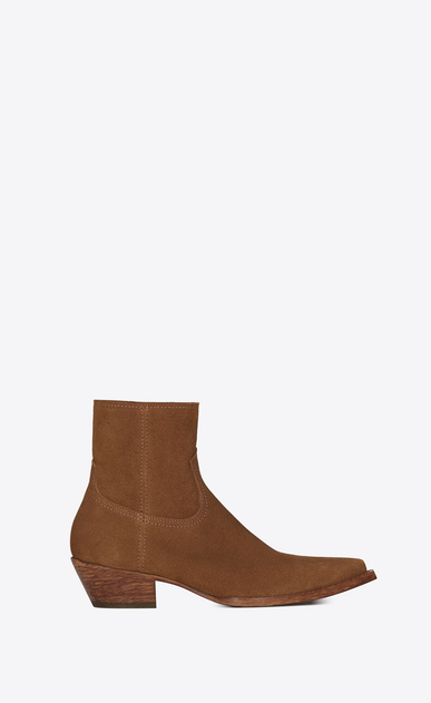 SAINT LAURENT Flat Booties Woman Lukas 40 ankle boot in hazel suede a_V4