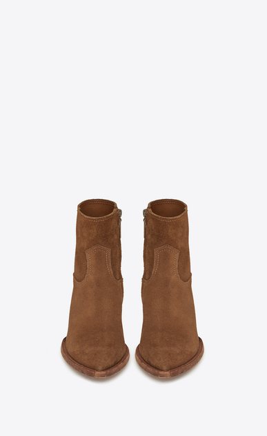 SAINT LAURENT Flat Booties Woman Lukas 40 ankle boot in hazel suede b_V4