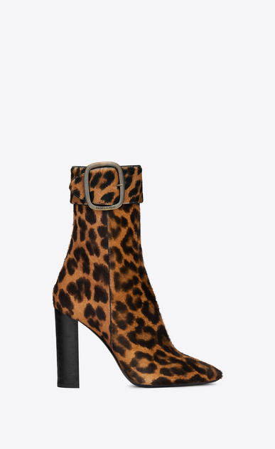 SAINT LAURENT Heel Booties Woman Joplin 105 ankle boot in leopard-look calfskin a_V4