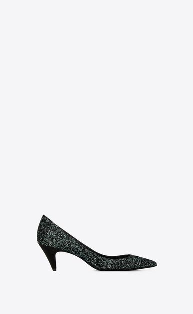 SAINT LAURENT Charlotte pump Woman Charlotte 55 pump in green glitter a_V4