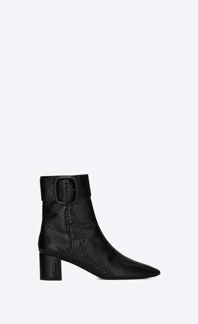 SAINT LAURENT Heel Booties Woman Joplin 50 ankle boot in lacquered black python a_V4