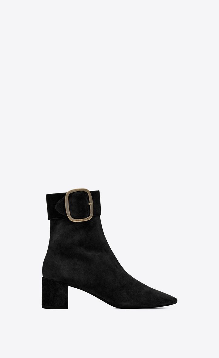 a13d2e8833c9c Saint Laurent Joplin Buckle Bootie In Suede