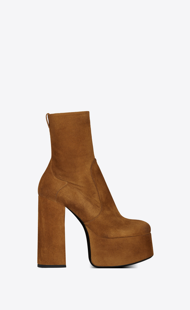 SAINT LAURENT Heel Booties Woman Billy platform bootie in suede a_V4