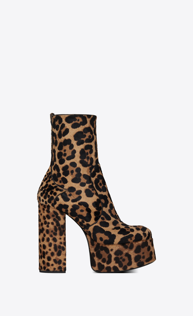 SAINT LAURENT Heel Booties Woman Billy 85 ankle boot in cheetah-look calfskin a_V4