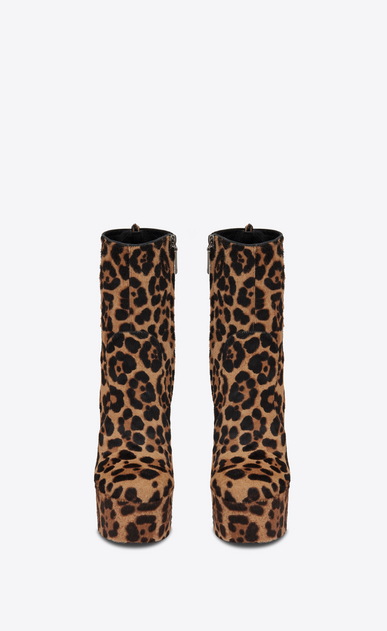 SAINT LAURENT Heel Booties Woman Billy platform bootie in Cheetah printed pony effect leather b_V4