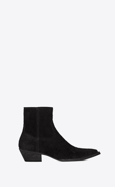 SAINT LAURENT Flat Booties Woman Lukas 40 boot in black suede a_V4