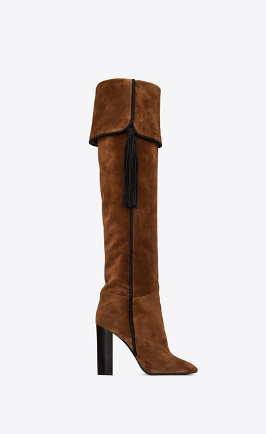 SAINT LAURENT Heeled Boots Woman Meurice 105 cuff boot with tassel in caramel suede a_V4