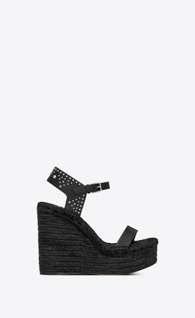 SAINT LAURENT Espadrille Woman Espadrille 85 studded sandal in black leather a_V4