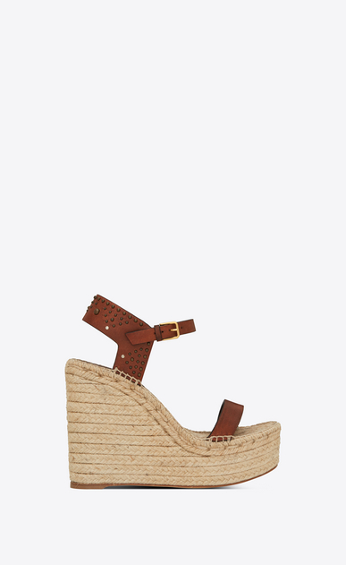 SAINT LAURENT Espadrille Woman Espadrille 85 studded sandal in caramel leather a_V4