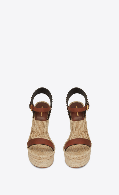 SAINT LAURENT Espadrille Woman Espadrille 85 studded sandal in caramel leather b_V4