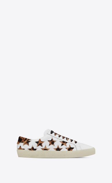 SAINT LAURENT SL/06 Woman Court Classic SL/06 leopard california sneaker in leather a_V4