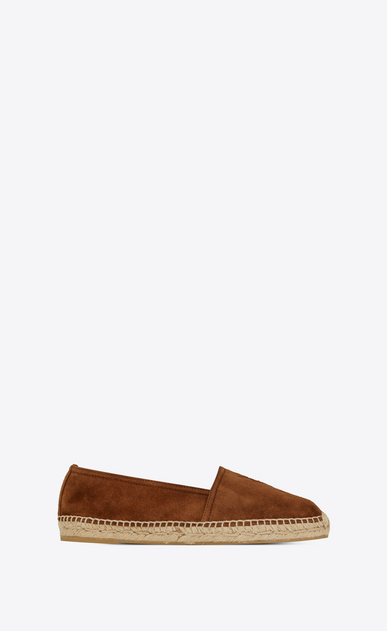 SAINT LAURENT Espadrille Woman Monogram espadrille sandal in caramel leather a_V4