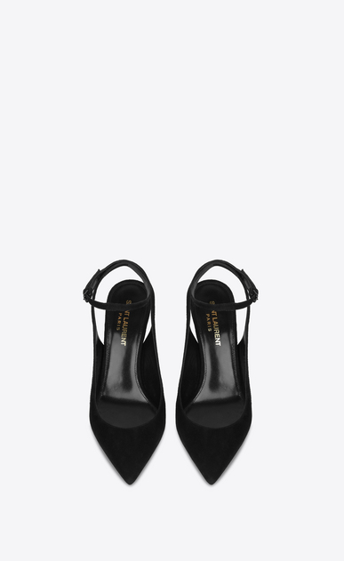 SAINT LAURENT YSL heels Woman opyum slingback pump in suede with black heel b_V4