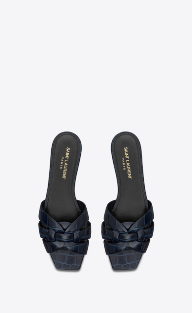 SAINT LAURENT Nu pieds Woman tribute flat sandal in crocodile embossed leather b_V4