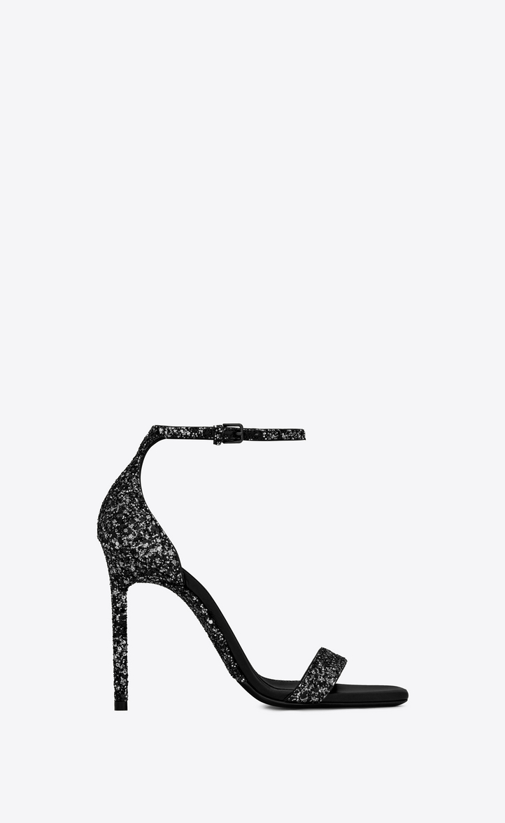 Amber Glitter Ankle Strap Sandal in Black