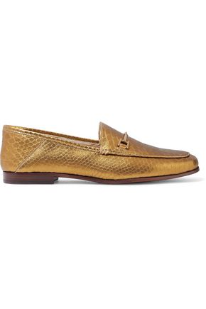 SAM EDELMAN Loraine metallic croc-effect leather loafers