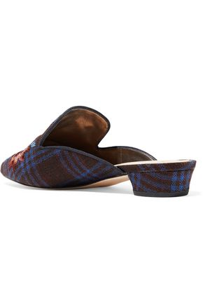 SAM EDELMAN Aven embroidered checked woven slippers
