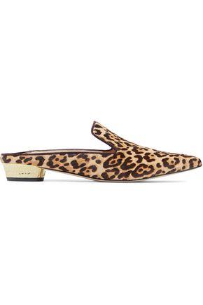 SAM EDELMAN Augustine leopard-print calf hair slippers