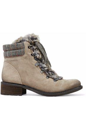 SAM EDELMAN Darrah faux fur-trimmed suede ankle boots