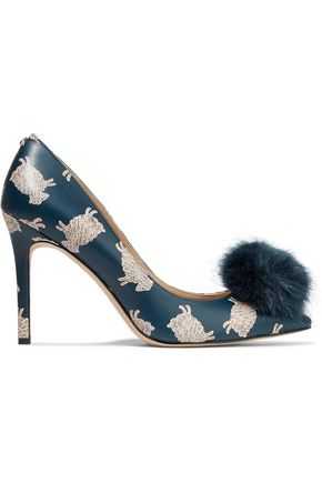 21260f05c917 SAM EDELMAN Haroldson pompom-embellished printed leather pumps