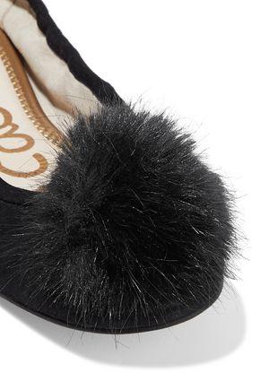 SAM EDELMAN Farina faux fur-embellished suede ballet flats