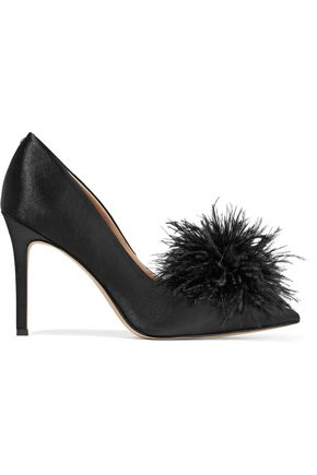 SAM EDELMAN Haide marabou-embellished satin pumps