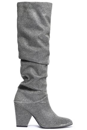 STUART WEITZMAN Smashing gathered metallic mesh knee boots