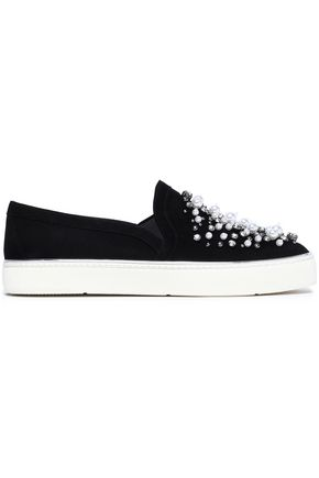 STUART WEITZMAN Decor embellished suede slip-on sneakers